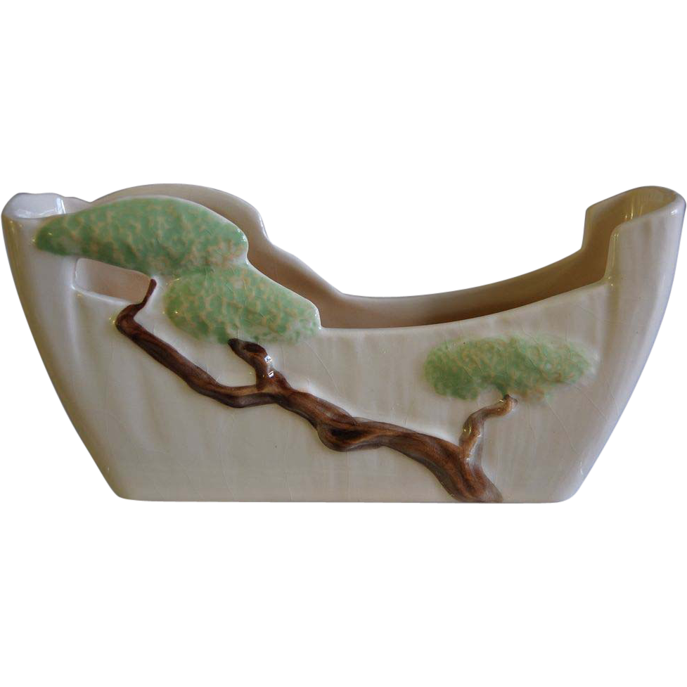 Roseville Pottery Ming Tree Planter #568-8, White, Ca. 1949