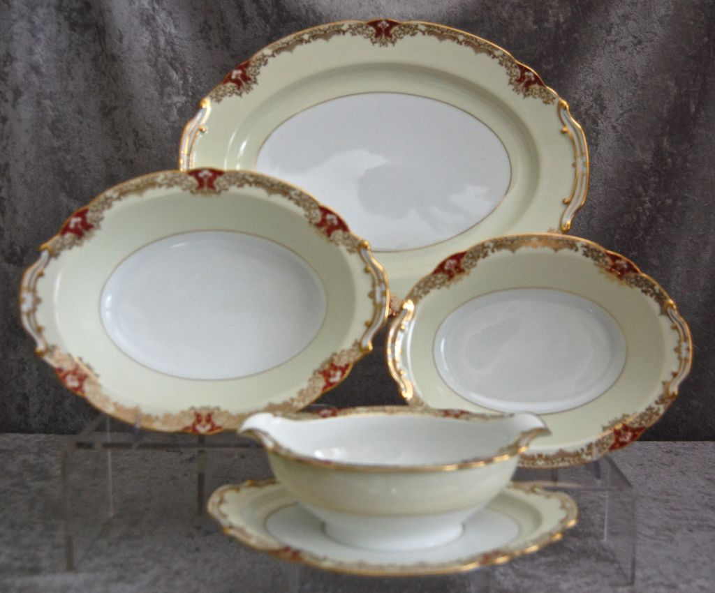 "Noritake Red ""Vornay"" 4 pc. Serving Set, Ca. 1930"