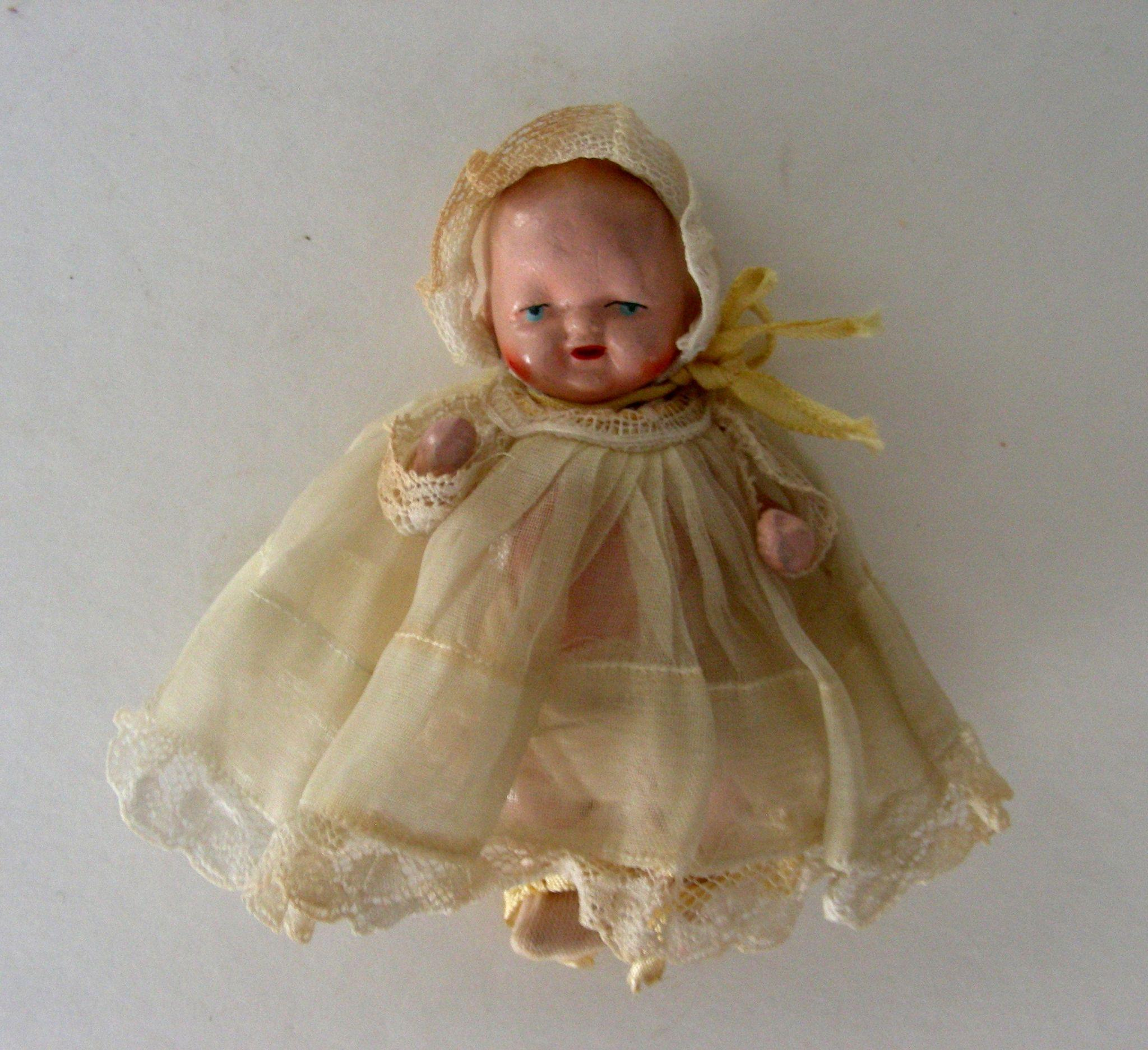 All jointed bisque baby doll circa 1940 from thedollconnection on