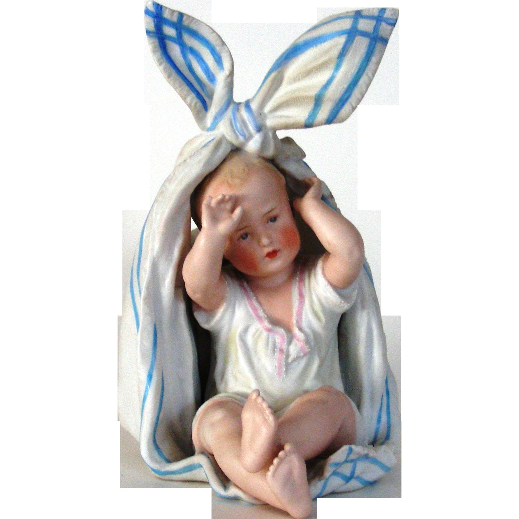 Vintage German Gebruder Heubach Baby in a Scarf Vase