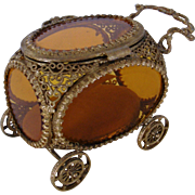 Vintage Hollywood Regency Carriage Shaped Jewel Casket/ Box