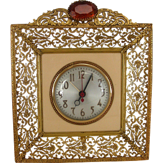 Mid Century Hollywood Regency Electric Clock and Jewel Box with Gemstones