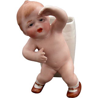 Vintage Gebruder Heubach Nude Baby with a Vase/ Toothpick Holder Attached