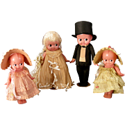 Large Size 1930's Set Celluloid Kewpies in  all Original Crepe Paper costumes
