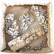Antique Wax Bridal Coronet, Garter and Groom's Boutonniere in Original Box /Bridal Keepsakes