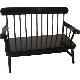 """Vintage 8"""" Doll Size Wooden Settee"""