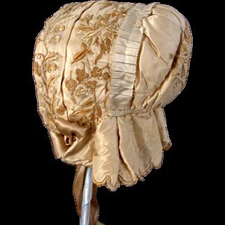 Embroidered Silk 1850's Child's Bonnet (Historical  Society De-aquisition)