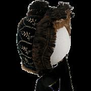 Silk and Velveteen Embroidered 1880's Bonnet