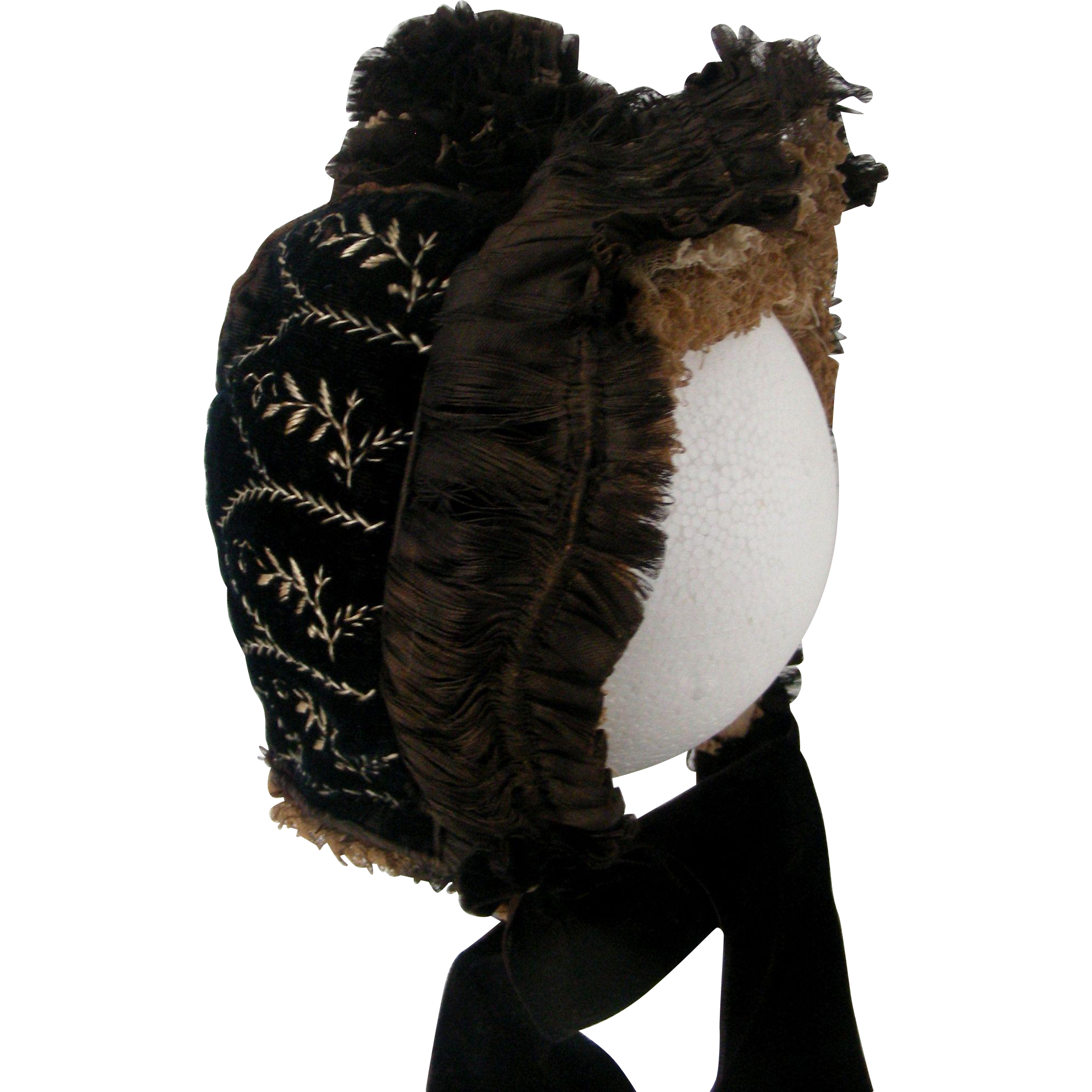 Silk and Velveteen Embroidered 1880's Bonnet