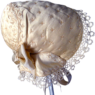 Elegant Handmade Embroidered Silk Baby / Doll Bonnet