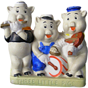 "1935  Disney Painted China/Pottery  Figurine ""Three Little Pigs"""