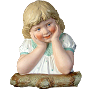 "9"" Tall Gebruder Heubach "" Little Girl Leaning on a Log"""