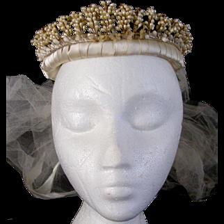 "1930""s Wax Floral Wedding Crown/Tiara/ Veil"
