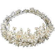 1940's Wax Floral Wedding Crown/Veil/Tiara