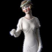Antique/ Vintage 1920-30's  Unglazed Porcelain Deco Bride Cake Topper