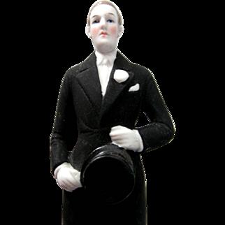 Antique Vintage 1920-30's Unglazed Porcelain Wedding Cake Topper Groom