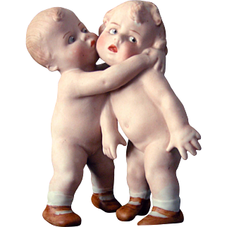 Gebruder Heubach Hugging Children Vase/Match Holder
