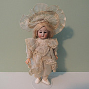 Adorable Tiny Cabinet Sized German 8 1/2 Inch SH 1078 In Great Outfit