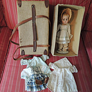 Petite German Kestner 143 Character with Trunk and Original Wardrobe