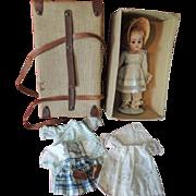 Petite German Kestner 143 Character with Trunk and Original Wardrobe