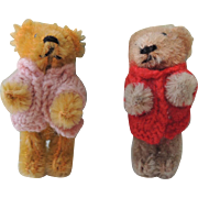 Pair of Darling German Miniature Schuco Bears with Sweaters