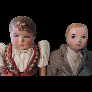 Two Cloth Bing Type Boy and Girl Dolls TLC