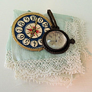 Pair Of Tiny Silk Hankies & Old Watch for French Fashion Doll