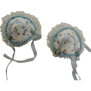 Pair of Tiny Hats for Mignonettes or Other Small Dolls