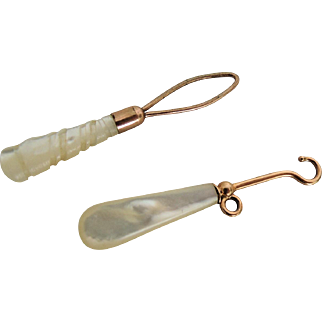 Mother of Pearl Handled Button Hook and Threader for Fashion Dolls