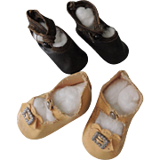 Two Pair Older Doll Shoes for Composition & Bisque Dolls