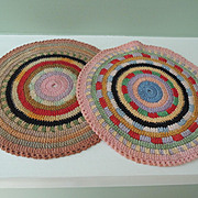 Pair of Lovely Colorful Crocheted Doll House Rugs