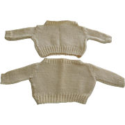 Pair of Cream Knit Sweaters for Dolls or Teddy Bears