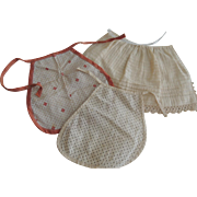 Three Smaller Cotton Aprons for Early Dolls