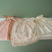 Three Charming Old Cotton Doll Aprons