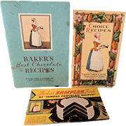 Three Original Walter Baker Chocolate Booklets * TLC