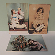 Three Sweet Post Cards Two with Dolls and One Christmas Tree