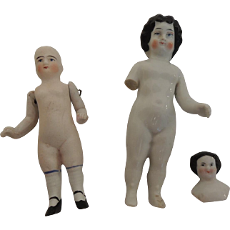 Three Old China and Bisque Dolls for Parts or Repair