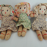 Darling Little Cloth Doll Triplets In Lovely Outfits