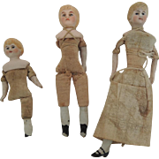 German Bisque Head Doll House Dolls for Parts or Repair