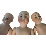 Three German All Bisque Dolls for Parts & Repair