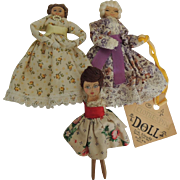 Wood Clothespin Dolls One with Dick Schnacke Shop Tag