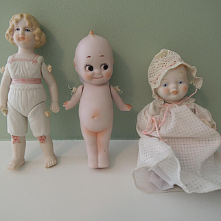 All Bisque Shackman Doll Group with Kewpie and Molded Clothing