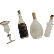 Four Delicate Miniature Glass Bottles for Doll House or Display