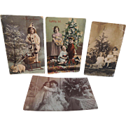 Four Christmas Post Cards with Dolls TLC