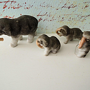 Sweet Miniature All Bisque Family of Elephants