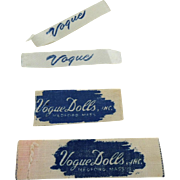 Original Early Vogue Doll Clothing Tags