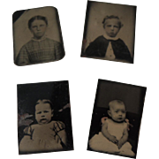 Four Miniature Tintypes of Children & Babies