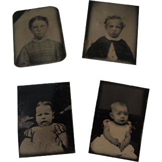 Four Miniature Tintypes of Children & Babies