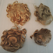 Four Vintage Doll Wigs for Modern Composition Plastic or Vinyl