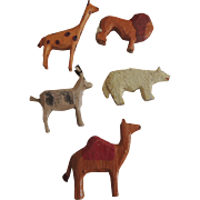 Five German Larger Scaled Wood Noah's Ark Animals